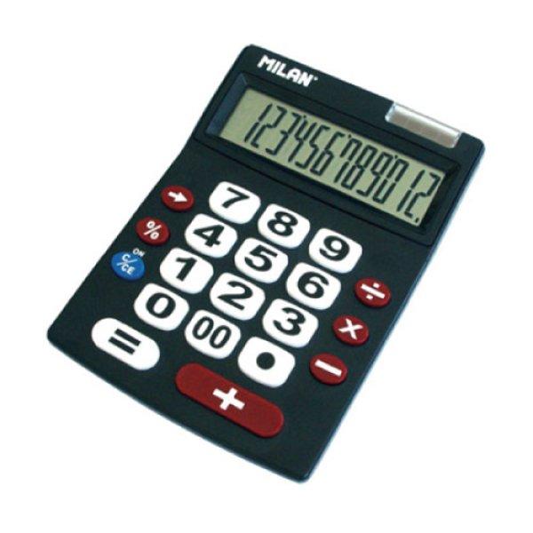 画像1: MILAN ミラン 12桁電卓 ビッグキー ブラック【標準小売価格:2,000円】 (1)